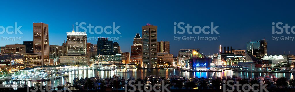 Baltimore Maryland Cityscape at Night stock photo