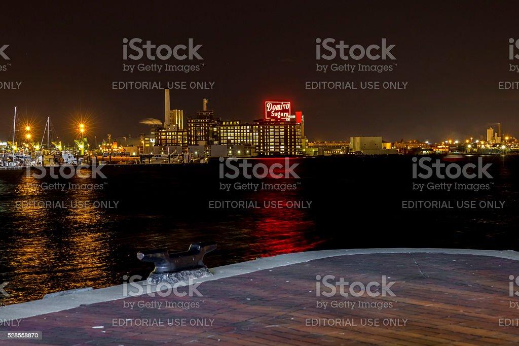Baltimore Maryland Inner Harbor, Domino Sugar Sign stock photo