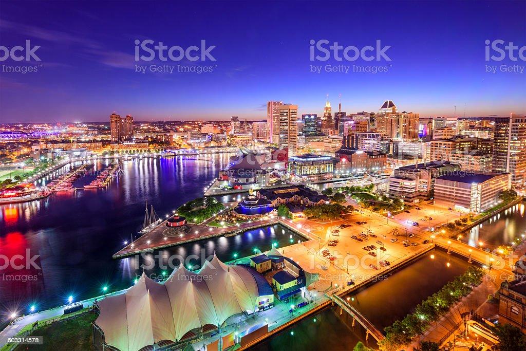Baltimore, Maryland Inner Harbor Skyline stock photo