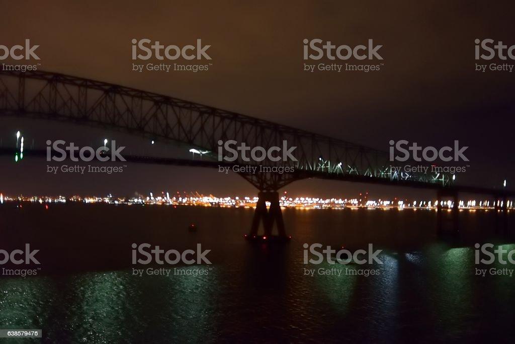 Baltimore Mid-Atlantic Harbor at Night stock photo