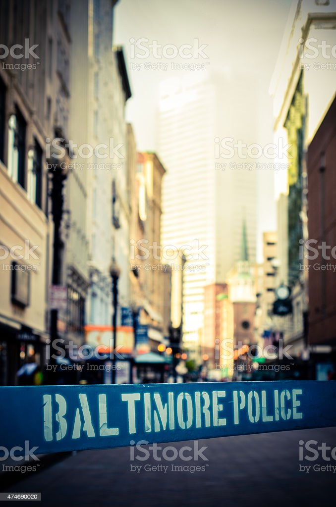 Baltimore Police Barrier stock photo