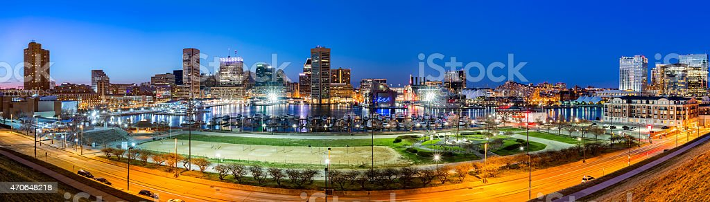 Baltimore skyline panorama at dusk stock photo