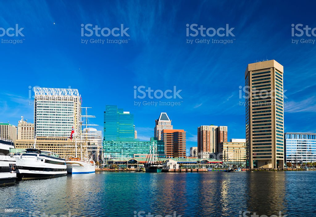 Baltimore Skyline with Boats and Harbor and Blue Sky stock photo