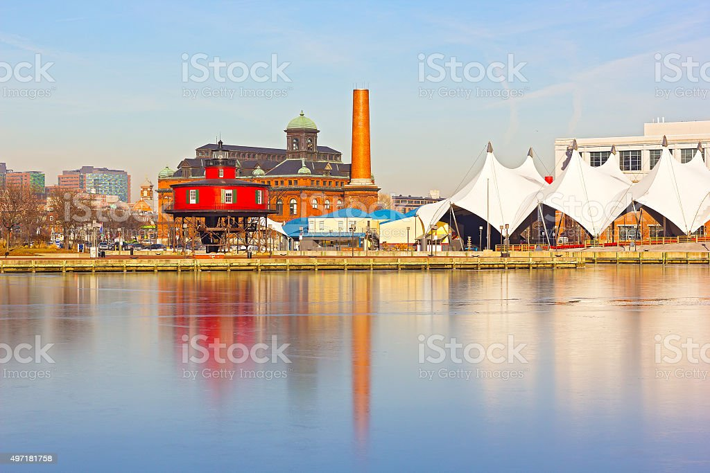 Baltimore waterfront with Seven Foot Knoll Lighthouse in winter. stock photo