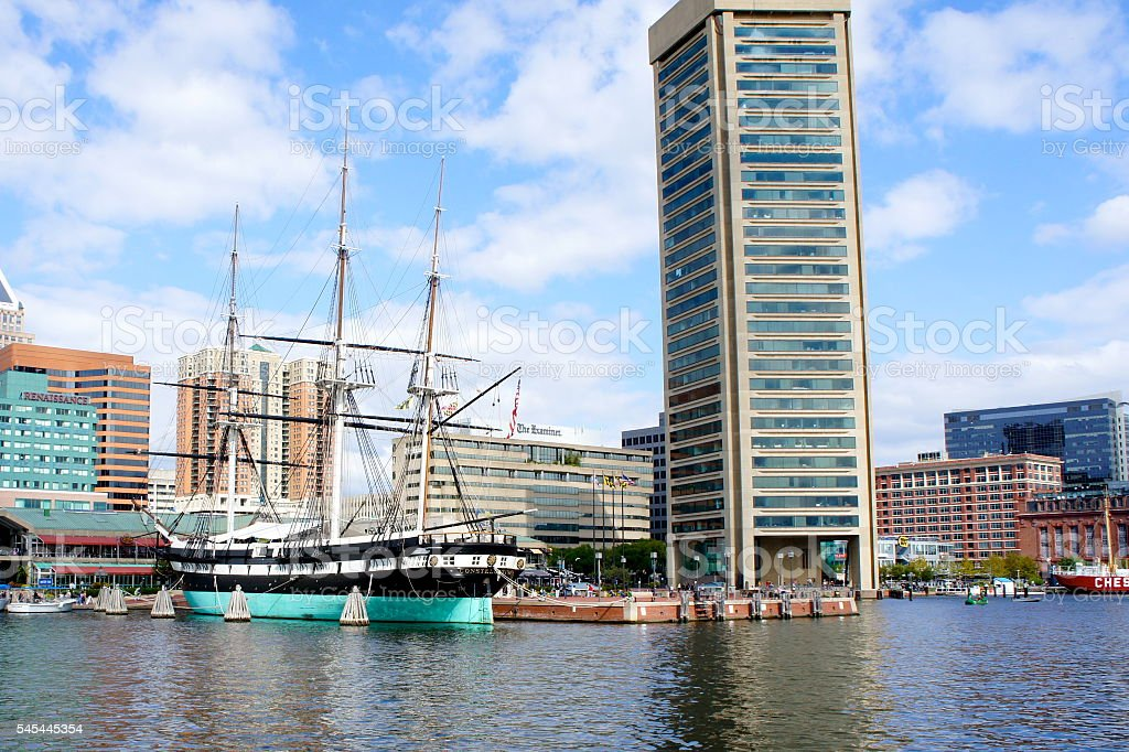 Baltimore Waterfront with USS Constellation stock photo