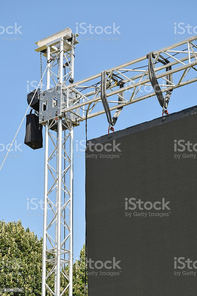 Baluster of a large LED screen outdoors stock photo