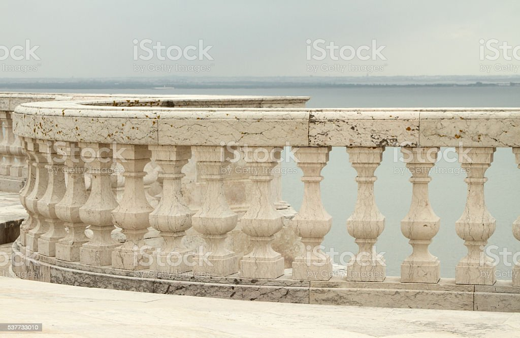 balustrade and view for Tagus river stock photo