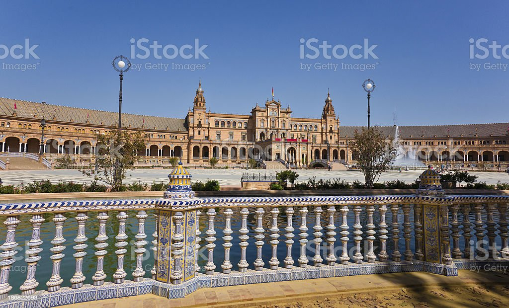 Balustrade Decorated with Azulejos on Plaza de Espana in Seville royalty-free stock photo