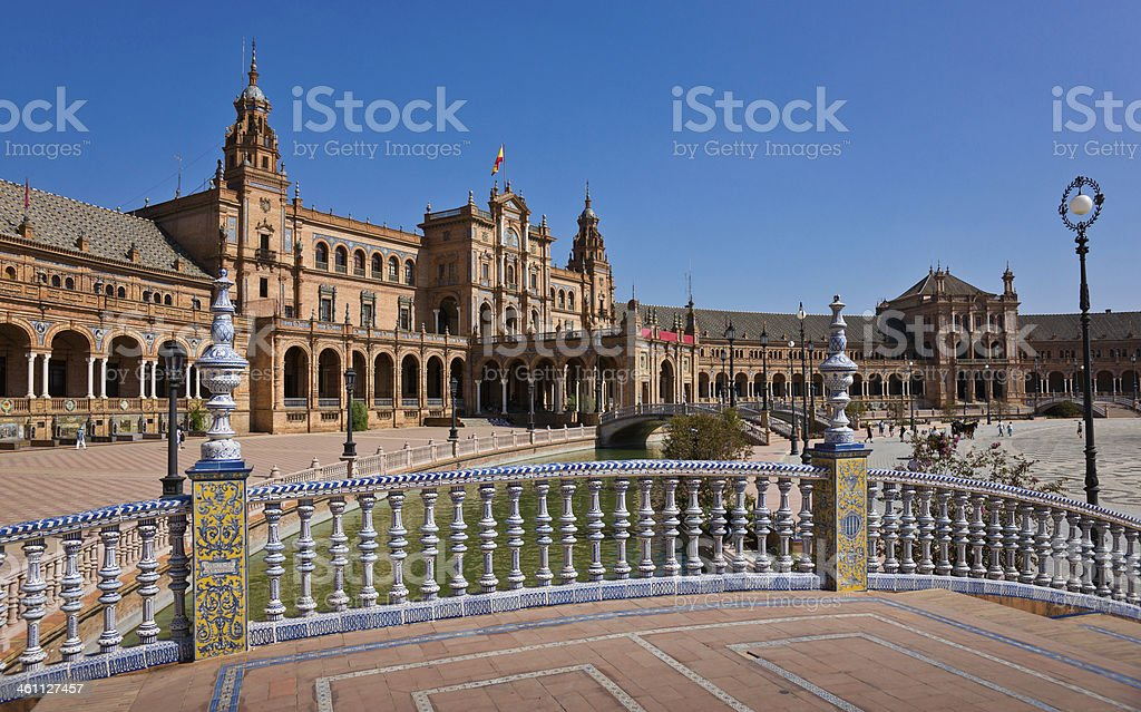 Balustrade Decorated with Azulejos on Plaza de Espana in Seville stock photo