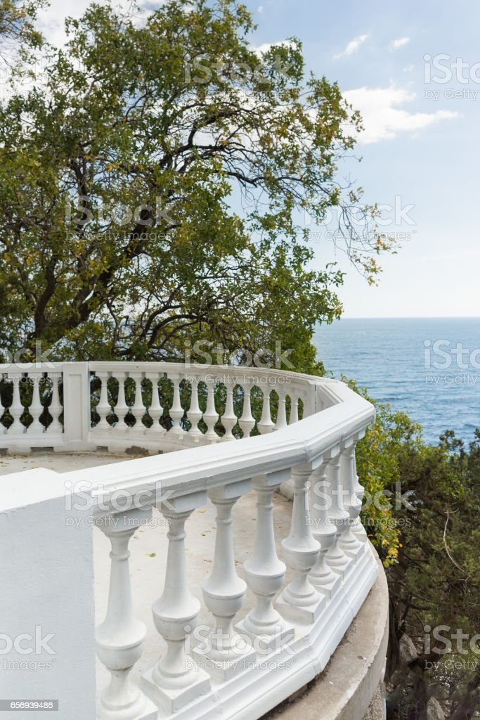 Balustrade observation deck on the shore of the Black sea in the Crimea stock photo