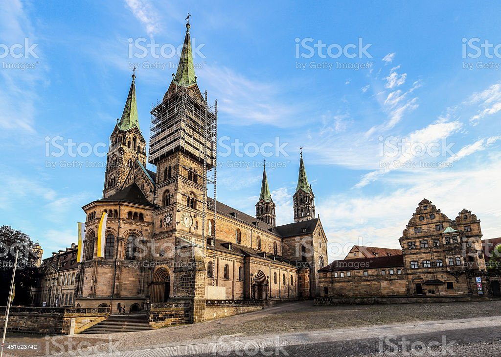 Bamberg Cathedral on a warm summer evening stock photo