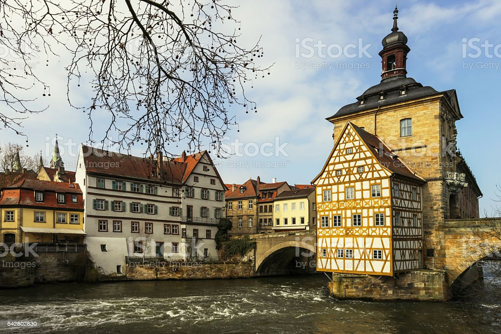 Bamberg, town hall and old houses at the river stock photo