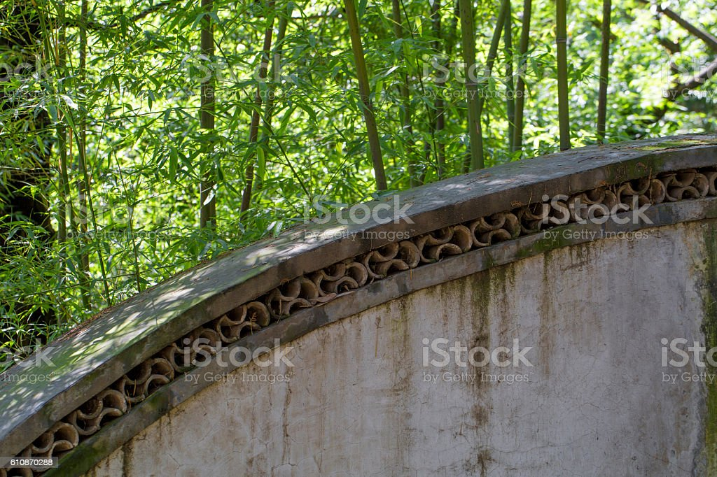 Bamboo and Chinese traditional wall stock photo