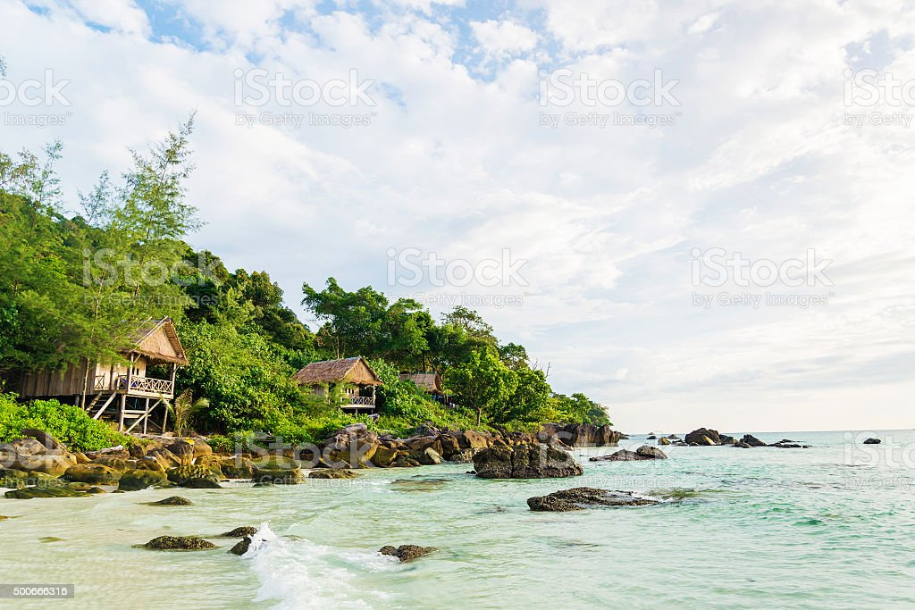 bamboo and wood bungalows in koh rong island cambodia stock photo