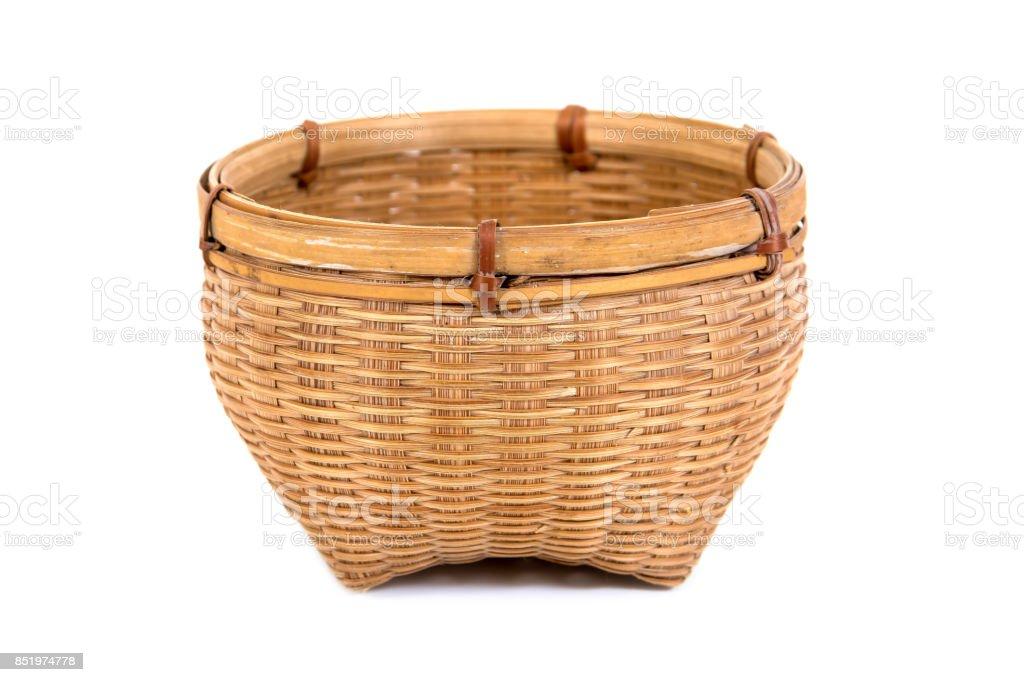 Bamboo basket isolated on white background.Woven bamboo basket isolated stock photo