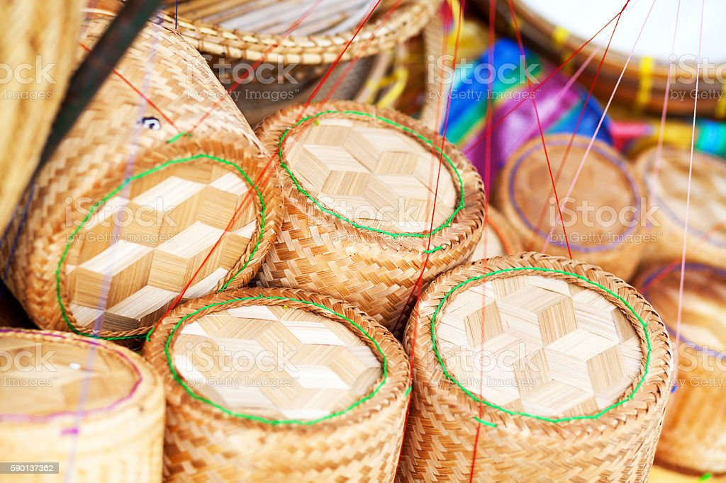 Bamboo baskets for sticky rice in Bangkok stock photo