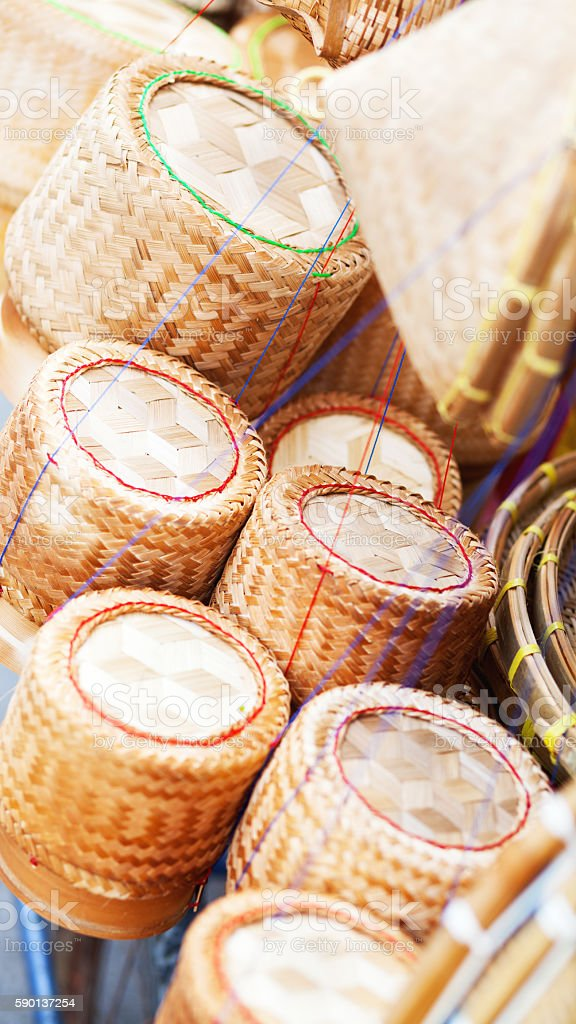 Bamboo baskets for sticky rice stock photo