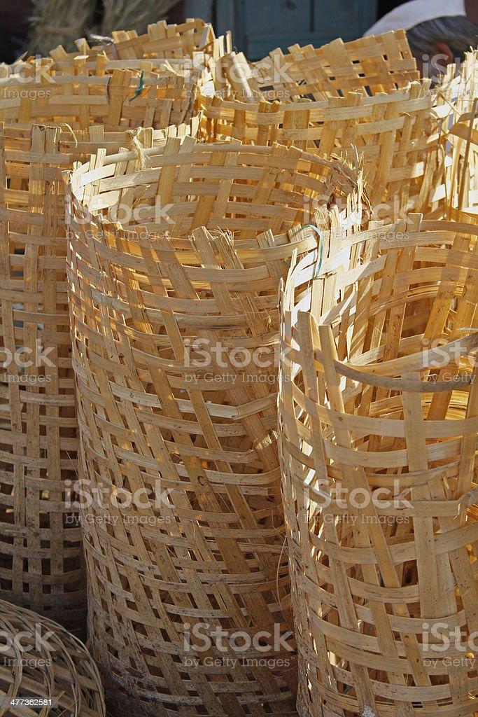 Bamboo baskets in random, India royalty-free stock photo