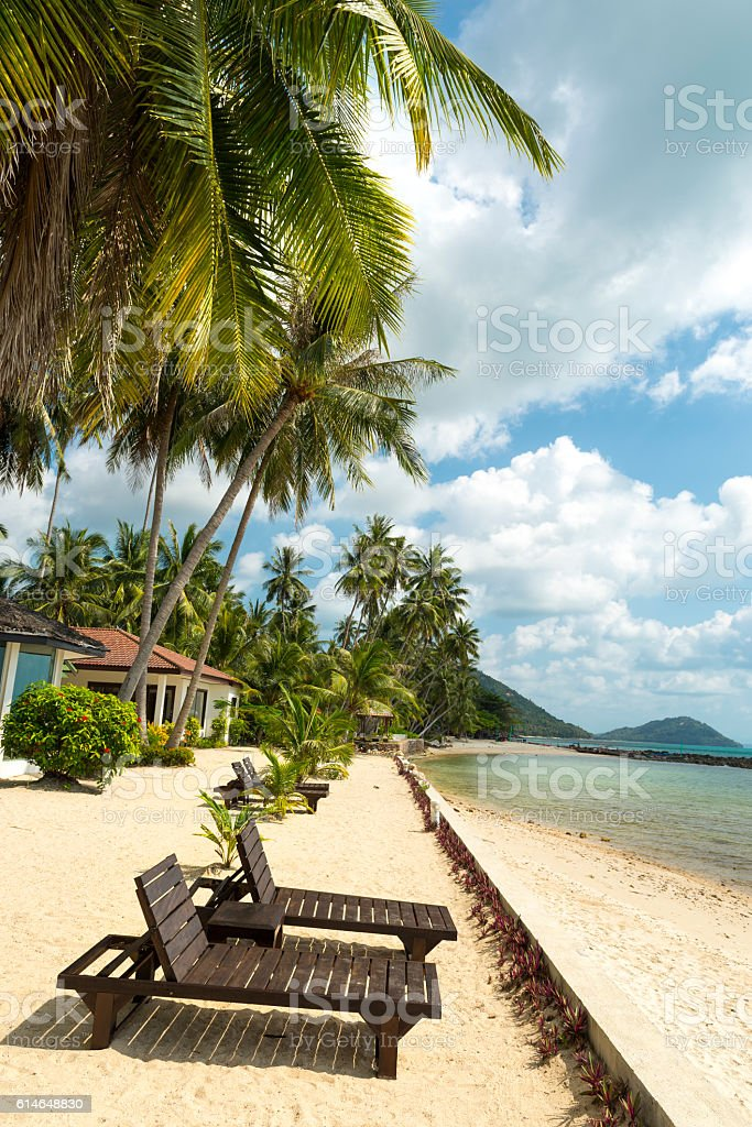 Bamboo beach chairs at resort of Koh Samui Island Thailand stock photo