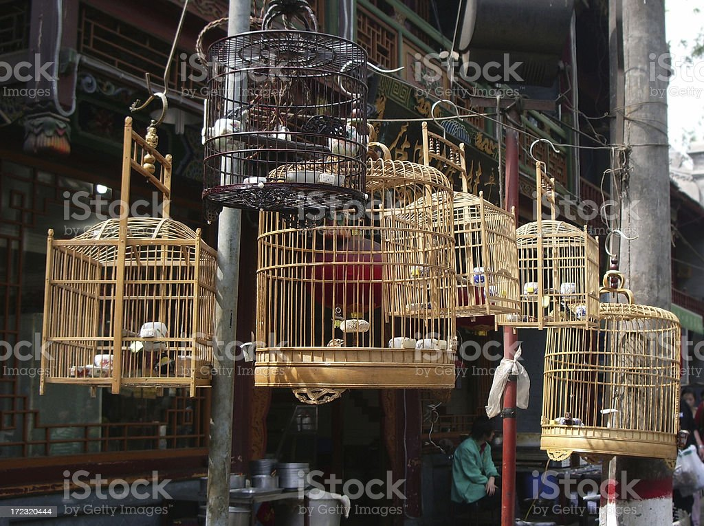 Bamboo Birdcages royalty-free stock photo