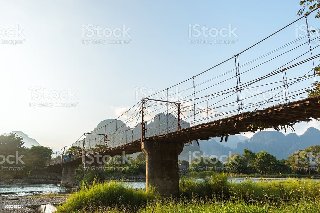 Bamboo bridge over Nam Song River at Vang Vieng village stock photo