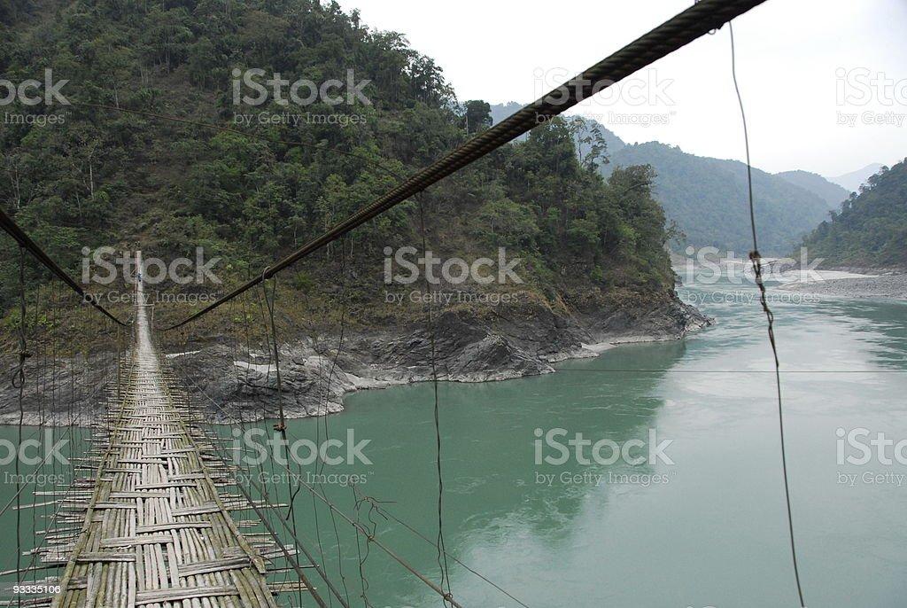 Bamboo Bridge, Siang River stock photo