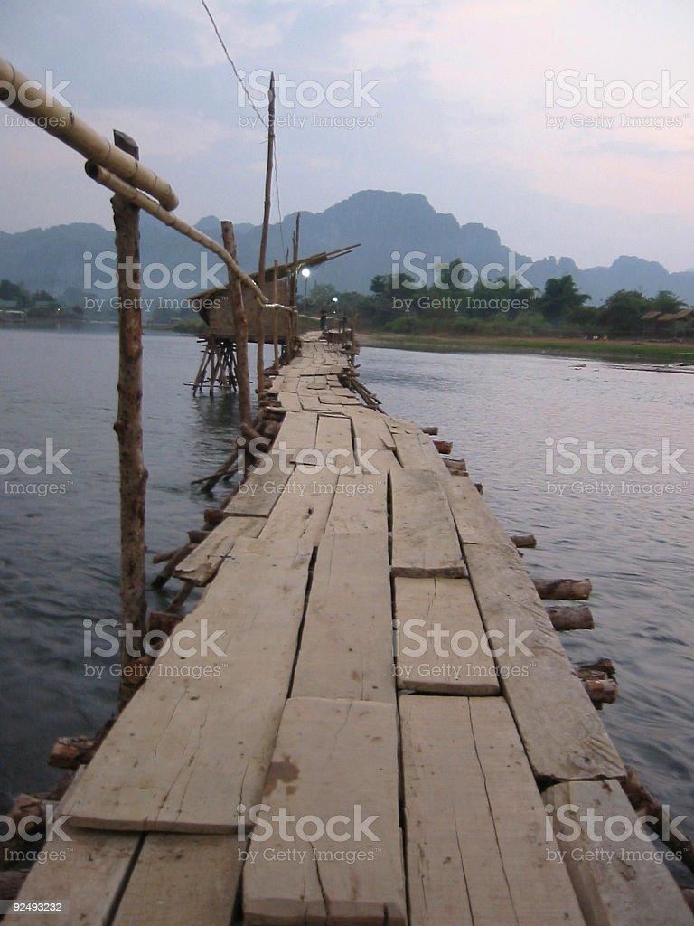 bamboo bridge vang vieng laos royalty-free stock photo