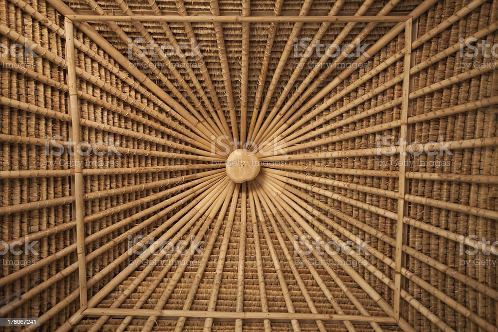Bamboo ceiling stock photo