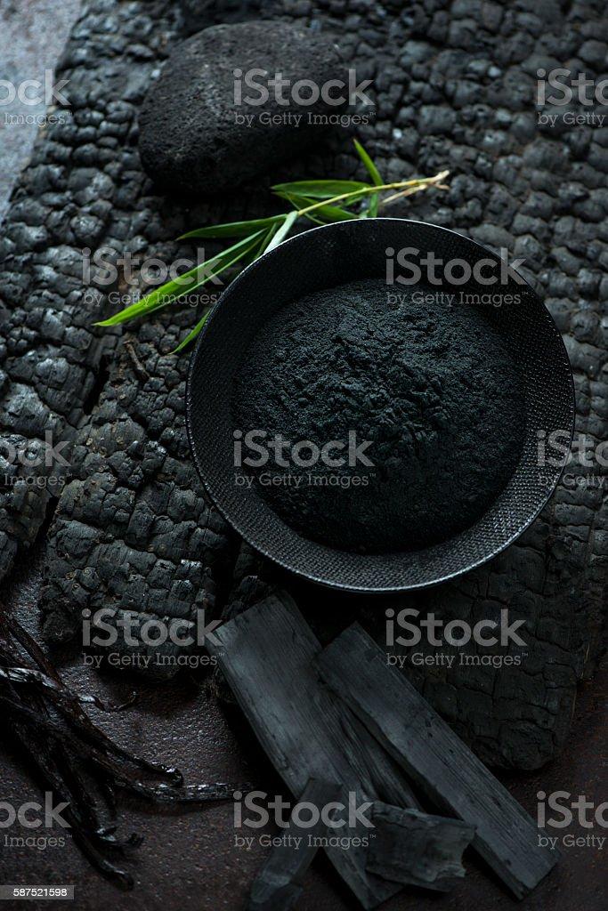 Bamboo Charcoal Powder stock photo