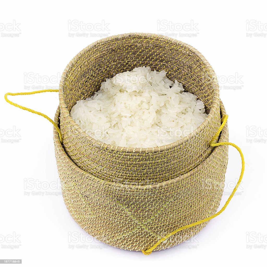 bamboo container for holding cooked glutinous rice royalty-free stock photo