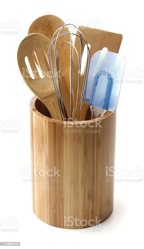 Bamboo Crock and Kitchen Utensils royalty-free stock photo