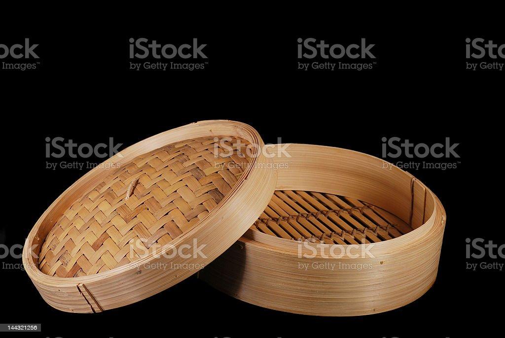 Bambu comida cesta com bojo e tampa foto royalty-free