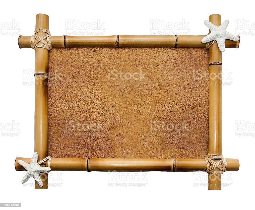 Bamboo frame isolated on white background stock photo