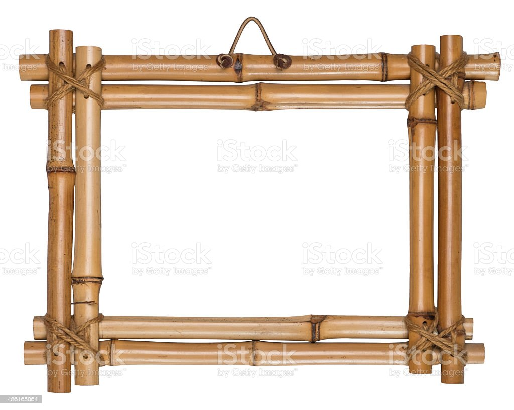 Bamboo frame tied up with rope. stock photo