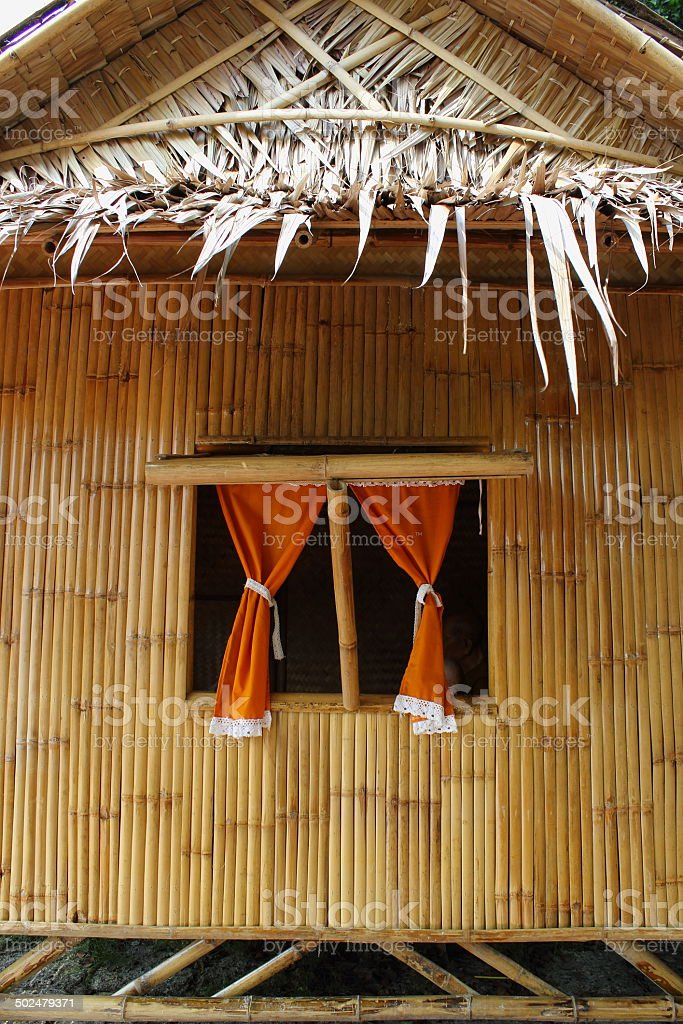 Bamboo house in rural Thailand stock photo