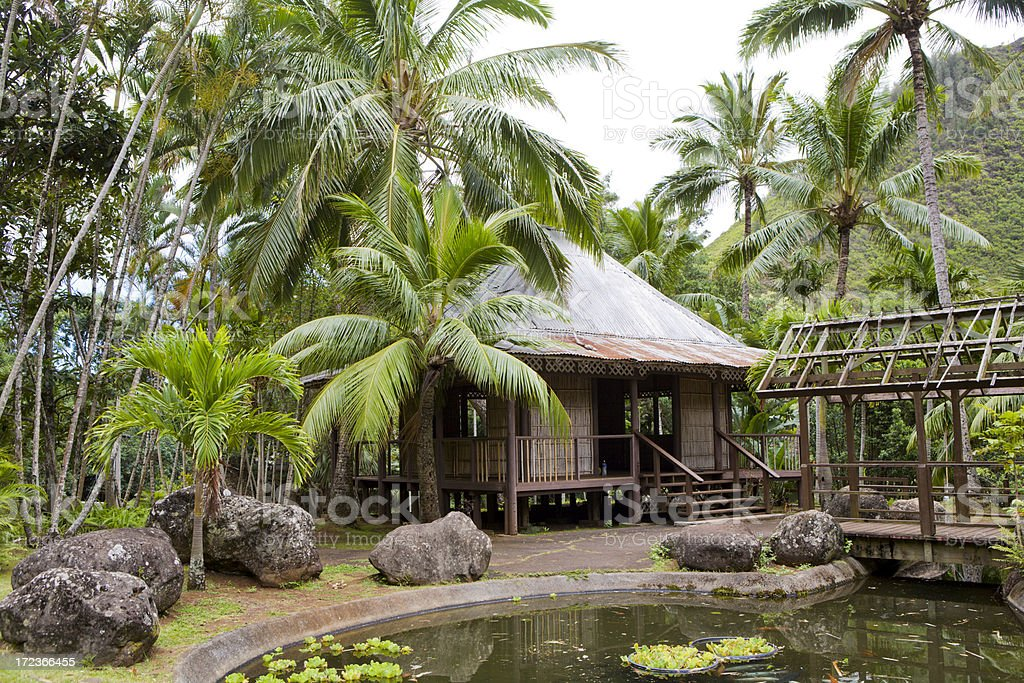 Bamboo Hut In The Rain Forest royalty-free stock photo