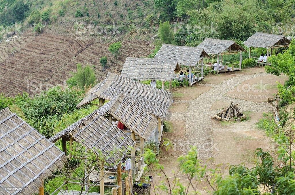 Bamboo hut on the mountain stock photo