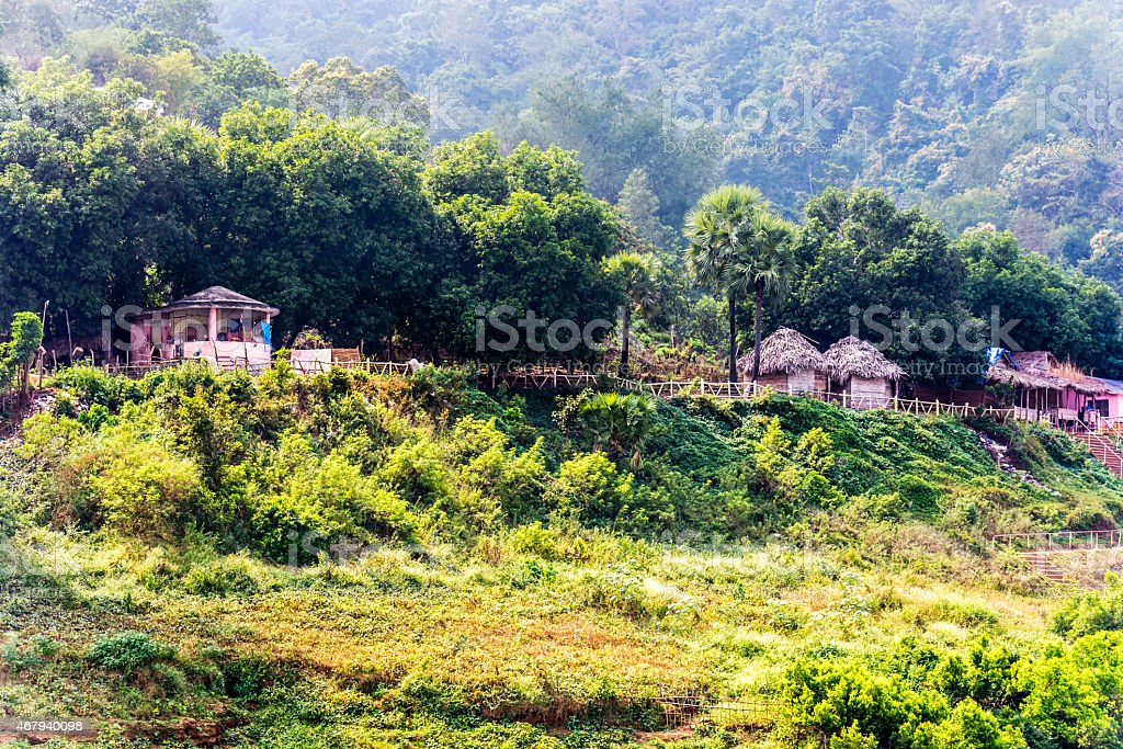 Bamboo Huts background in Hill station area stock photo