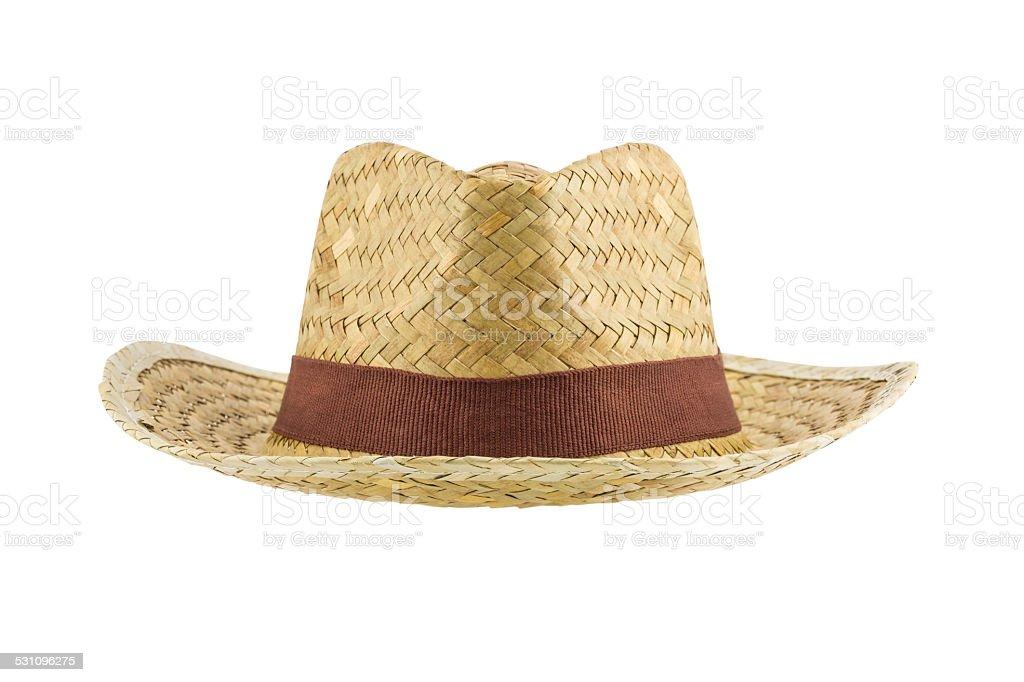 bamboo panama hat isolated on white background stock photo