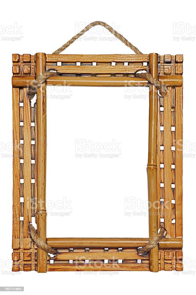 Bamboo photo frame isolated on white background royalty-free stock photo