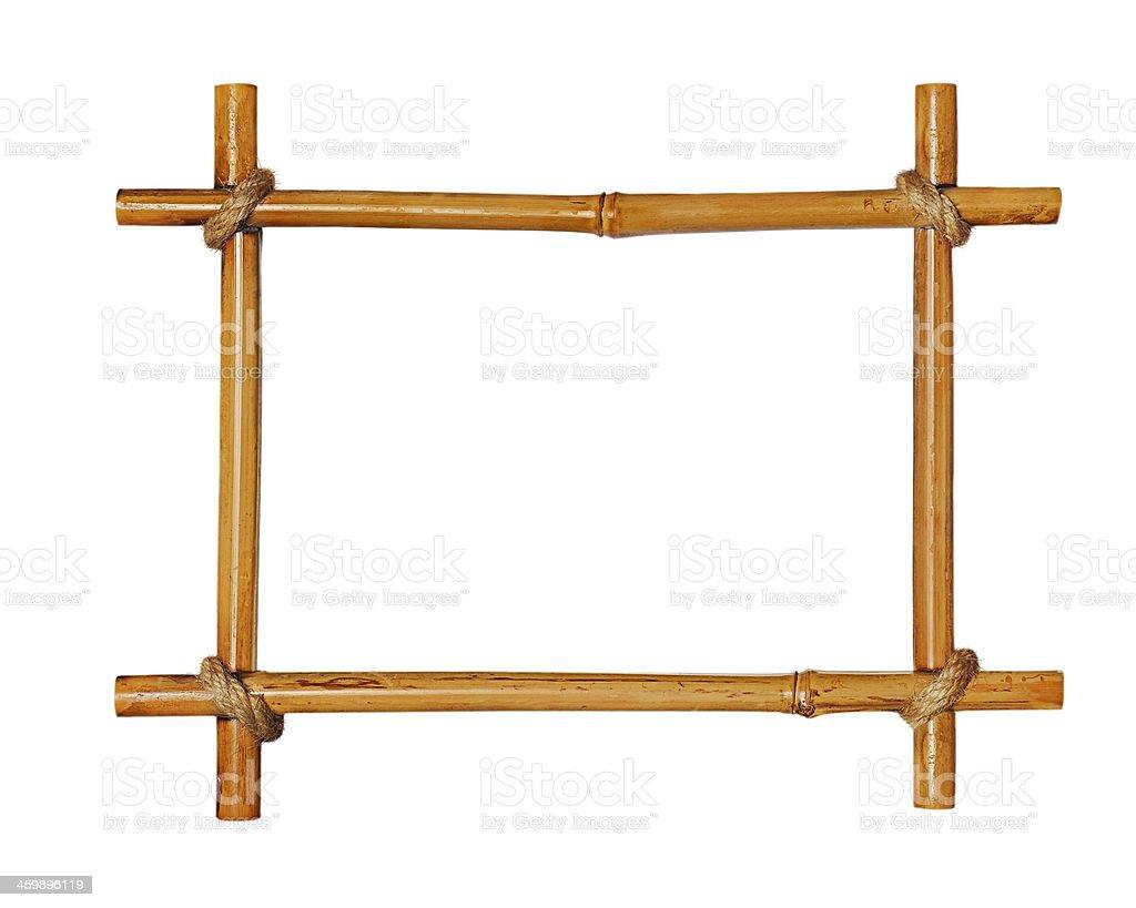 Bamboo photo frame isolated on white background. stock photo