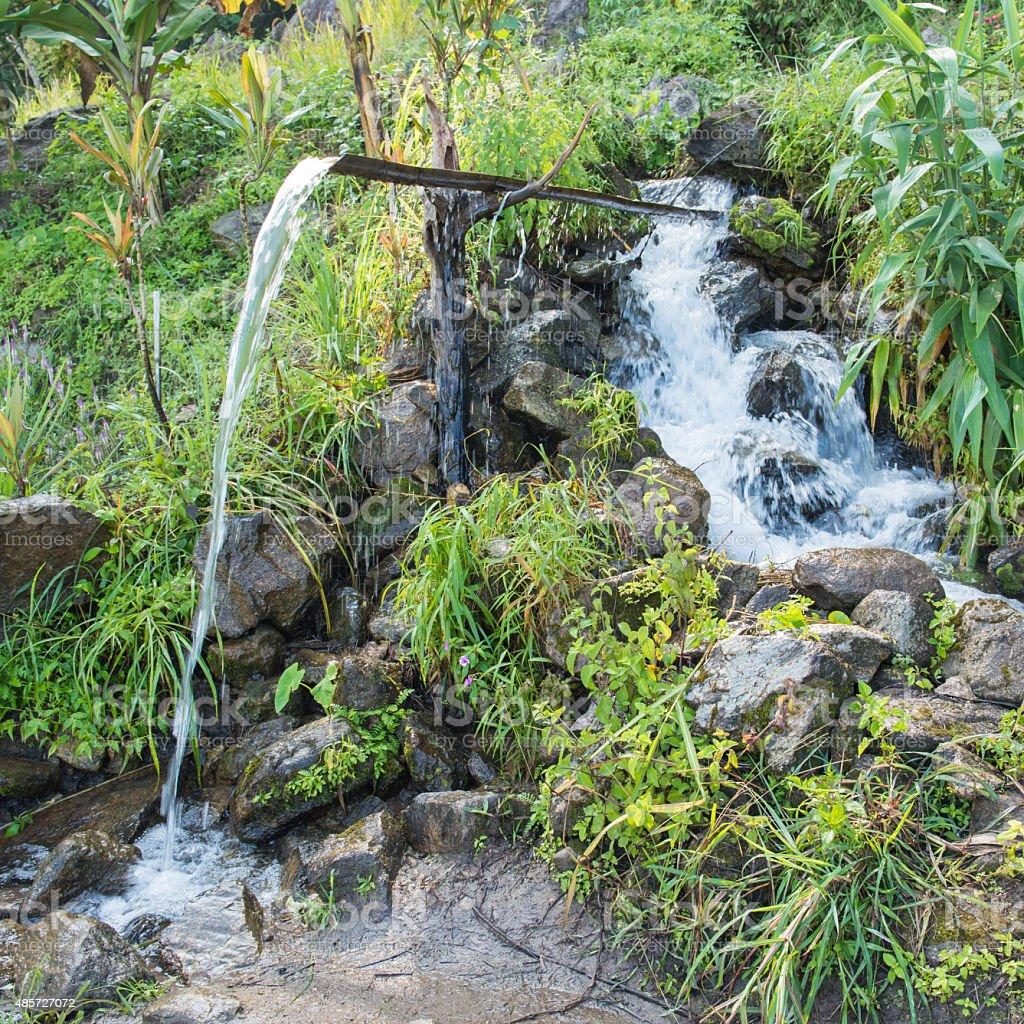 Bamboo pipe draining water from waterfall stock photo
