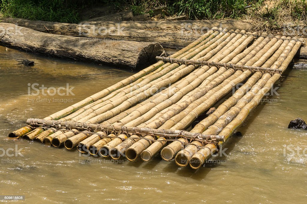 Bamboo raft and worn timber log on a river bank stock photo