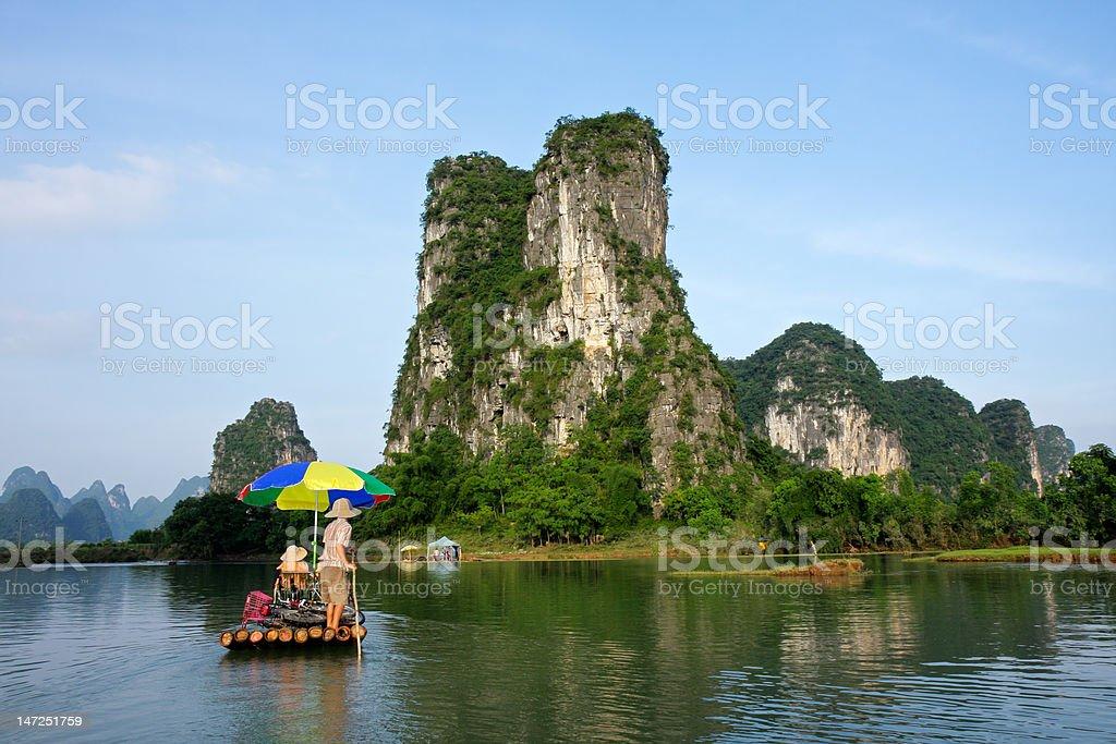 Bamboo raft, China royalty-free stock photo