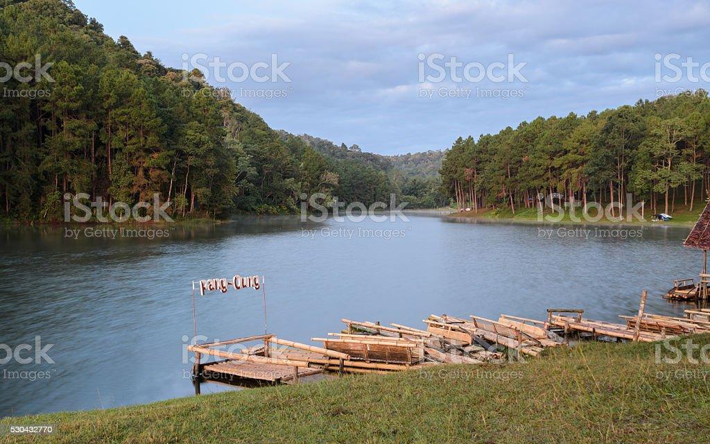 Bamboo raft for sightseeing around the lake stock photo