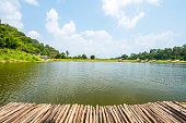 Bamboo raft heading on lake