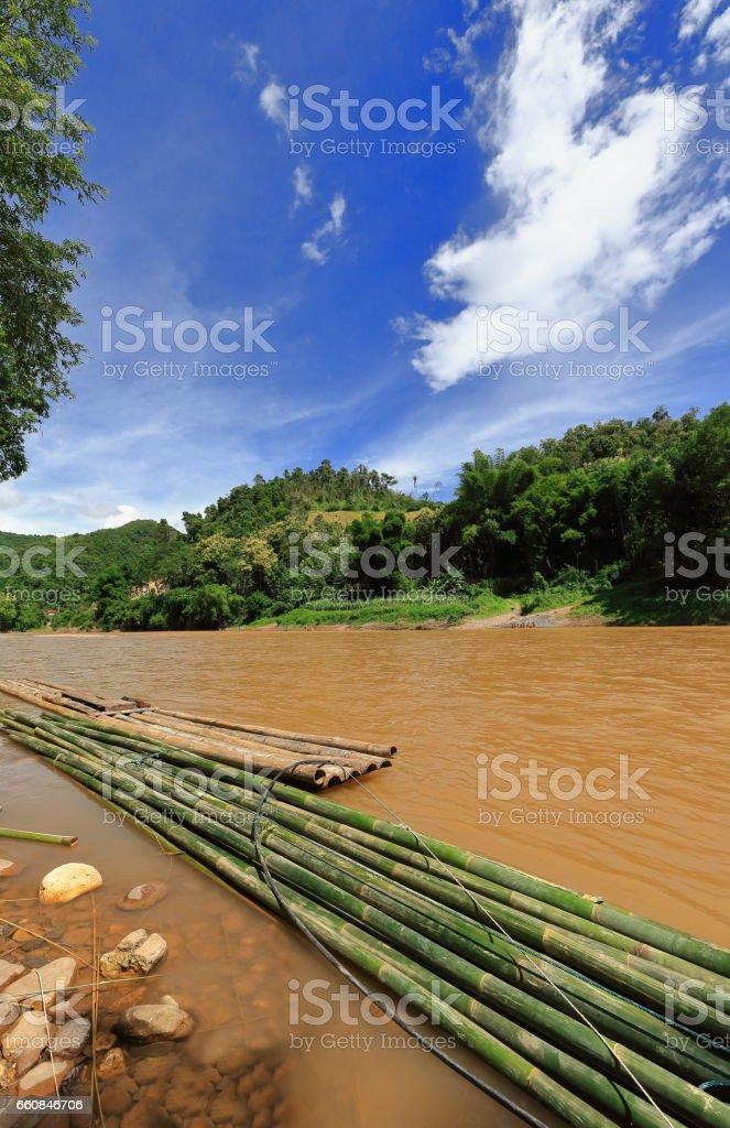 Bamboo raft on Phak Nam river. Pak Nam Noy-Phongsali province-Laos.3744 stock photo