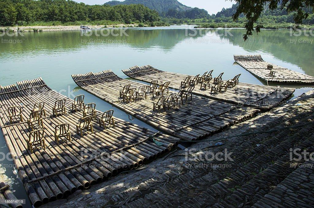bamboo raft royalty-free stock photo