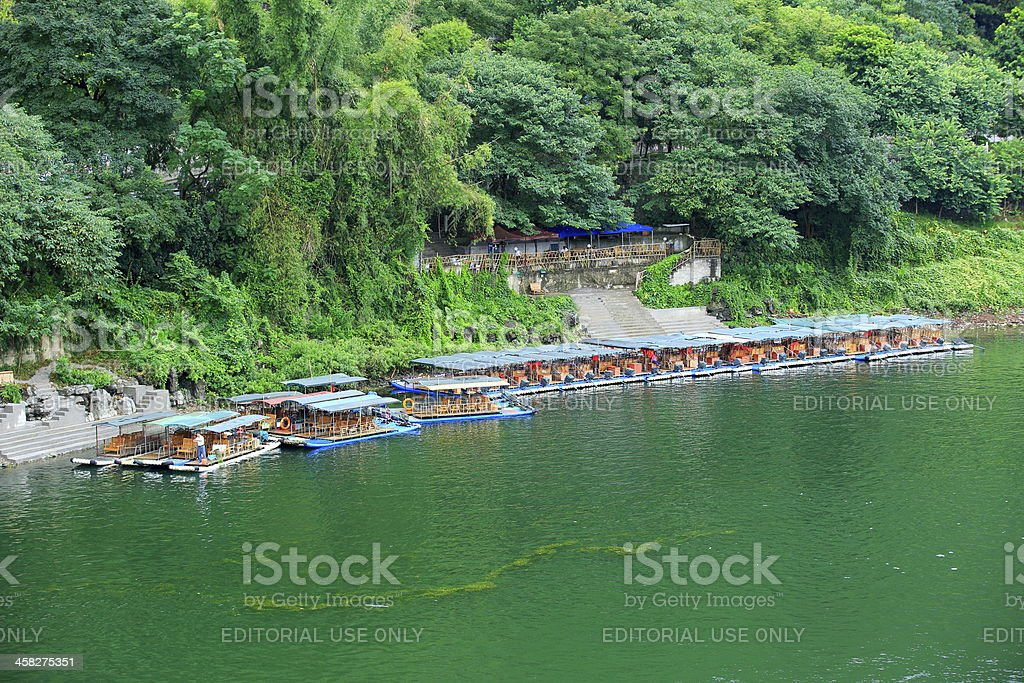 Bamboo rafting in Yangshuo Li River royalty-free stock photo