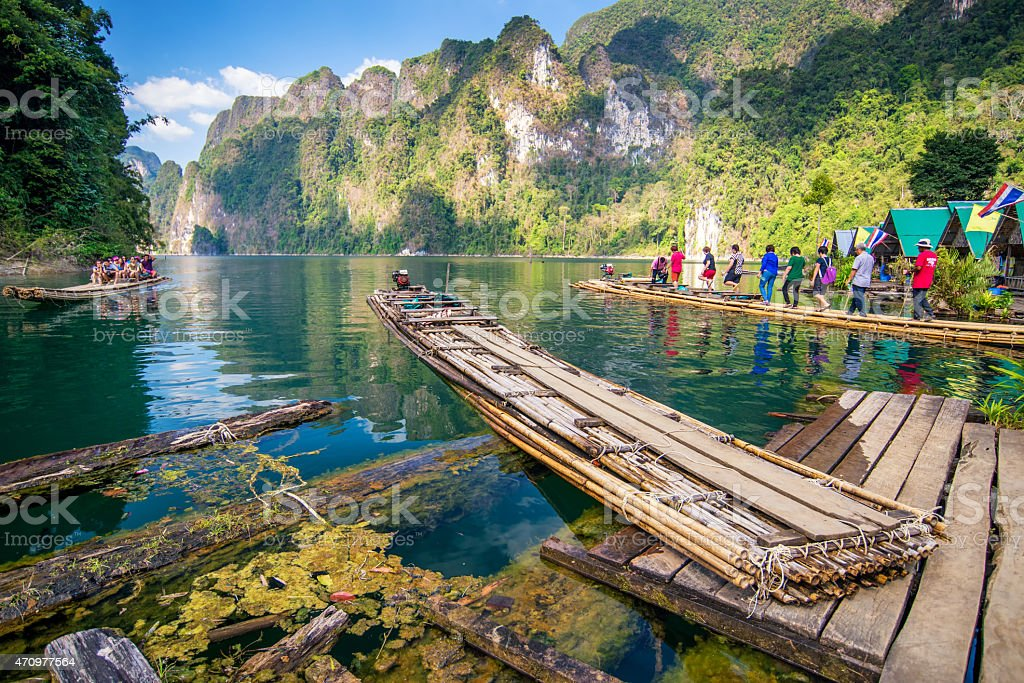Bamboo rafting on river, stock photo